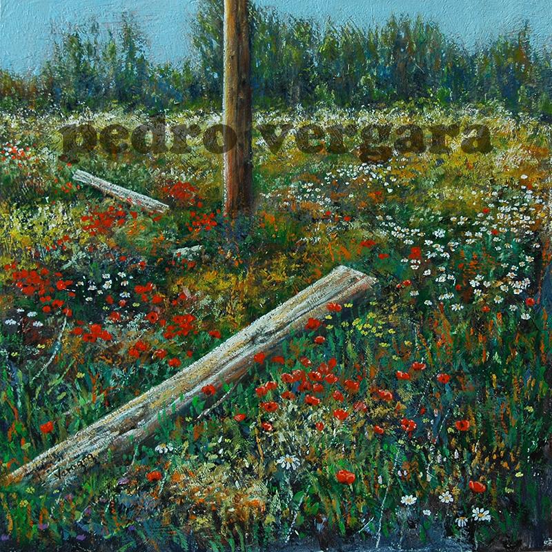 Flores de Primavera. Óleo-tabla. 30x30cm. Pedro Vergara.
